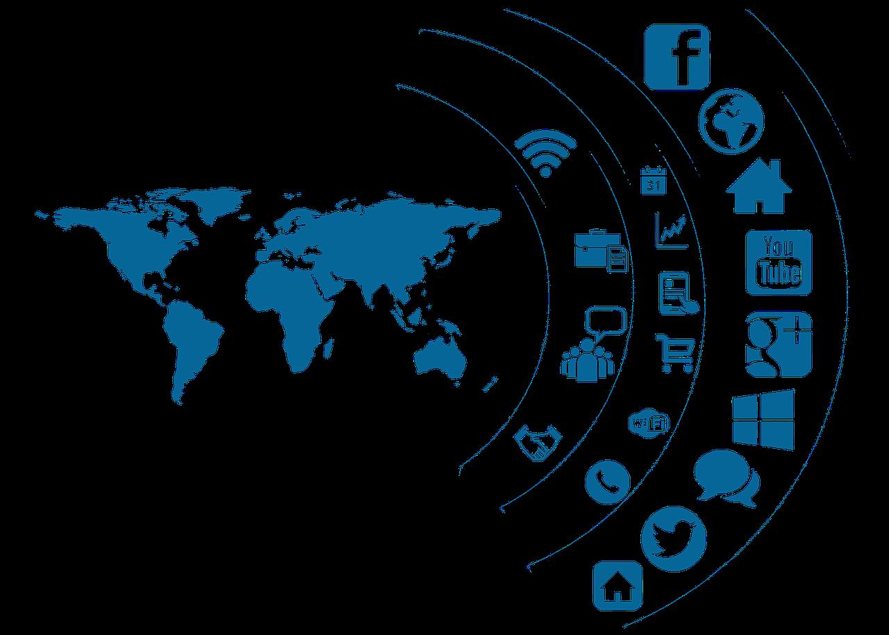 social media, icon, continents